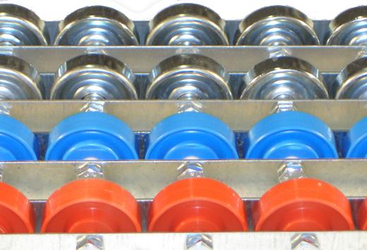 Rail en U galvanisé équipé de galets de manutention acier ou pvc de diamètre 48mm