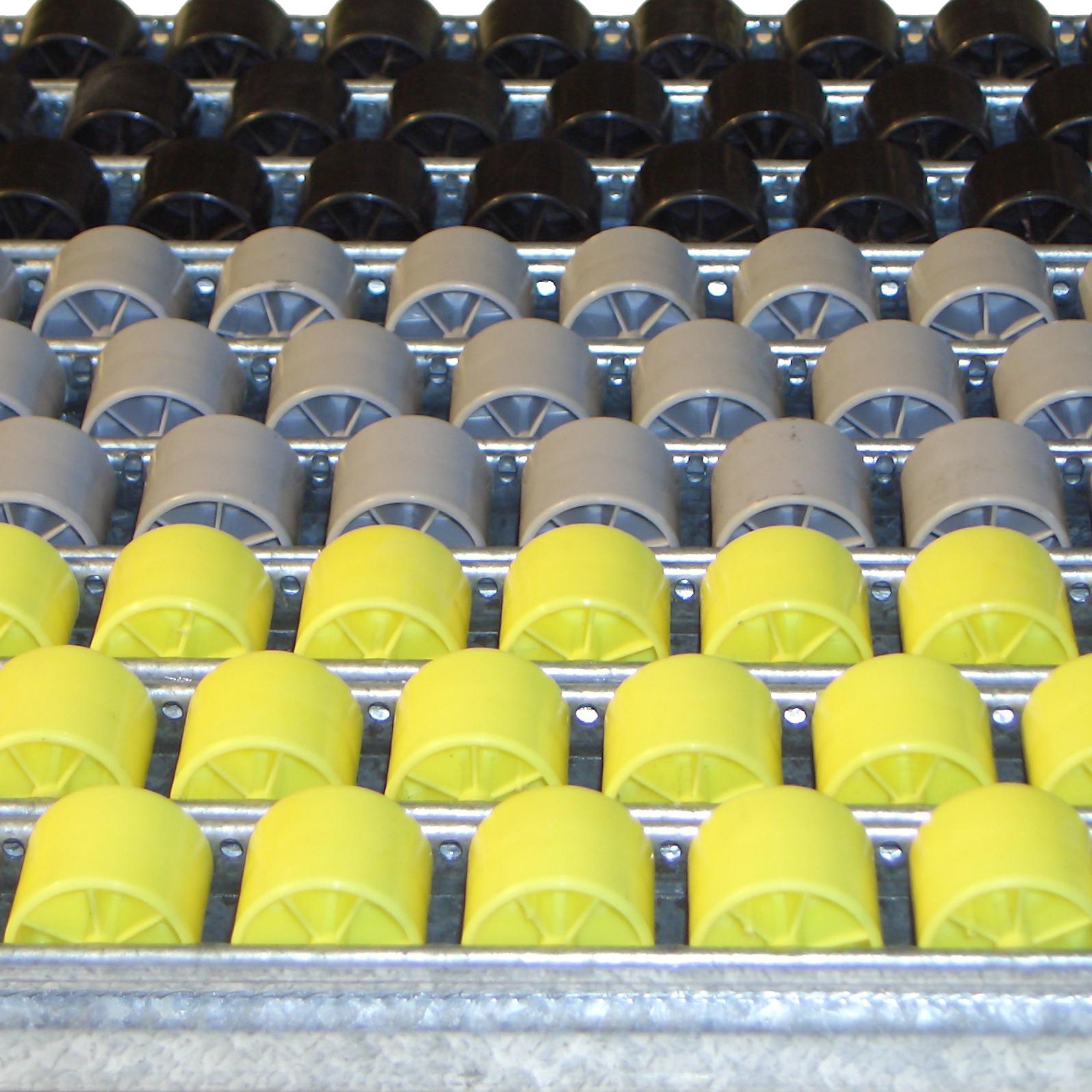 Rail en U galvanisé équipé de galets de manutention acier ou pvc de diamètre 28mm