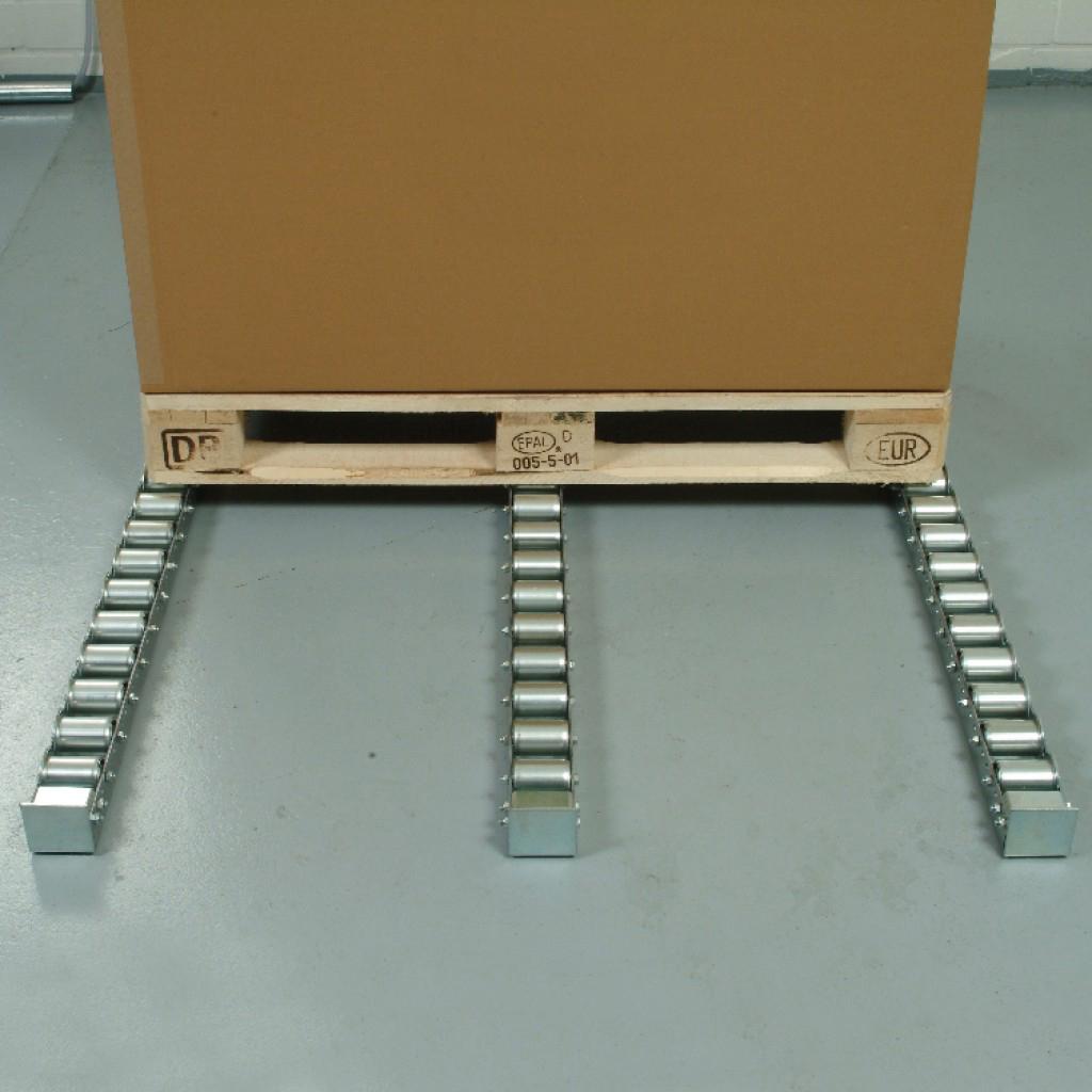 Rail en U galvanisé équipé de rouleaux gravitaires en acier pour le transport de palettes et charges lourdes