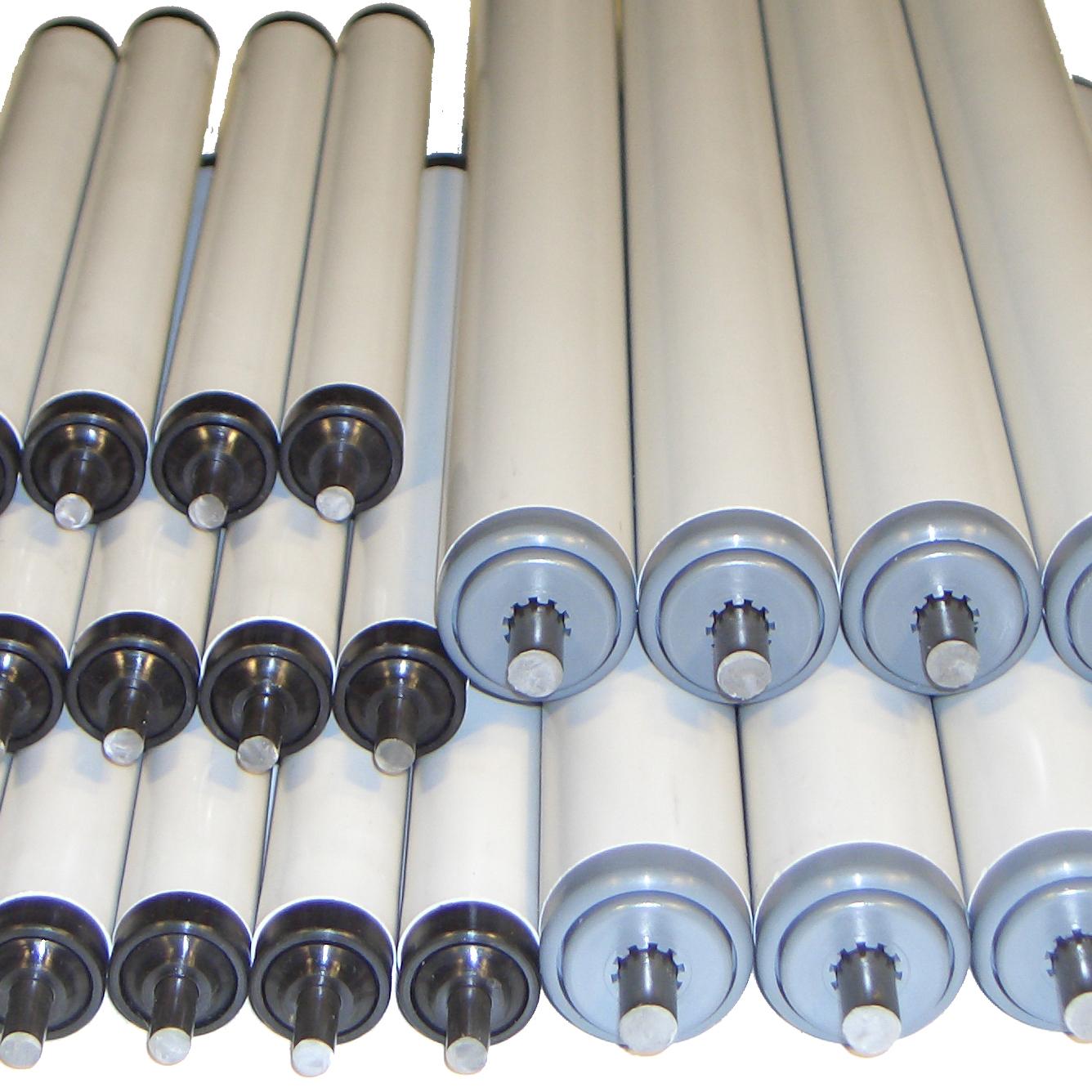 ensemble de rouleaux gravitaires pour convoyeur avec tube pvc
